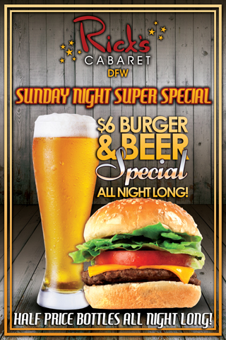 Weekly - Sundays - $6.00 Burger and Beer Special