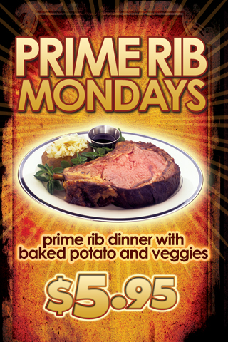 WEEKLY - MONDAYS - PRIME RIB MONDAYS: Featured  at Tootsie's Cabaret